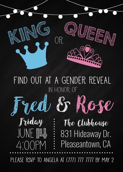 King Or Queen Gender Reveal Invitation The Baby Bee Gender Reveal Invitations Gender Reveal Twin Gender Reveal