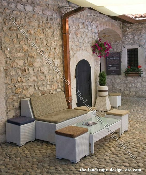 All Stone And Rock Patio Design Ideas. Lots Of Character