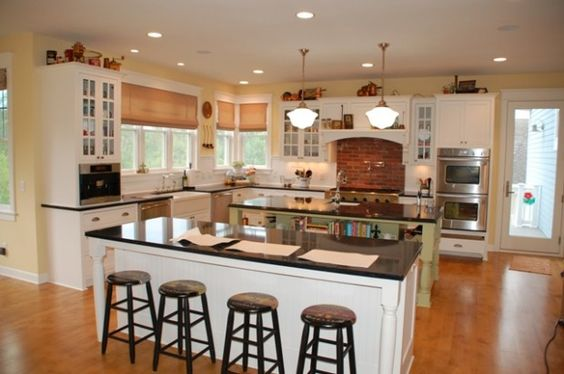 Country kitchens double island kitchen and islands on for Dual island kitchen designs