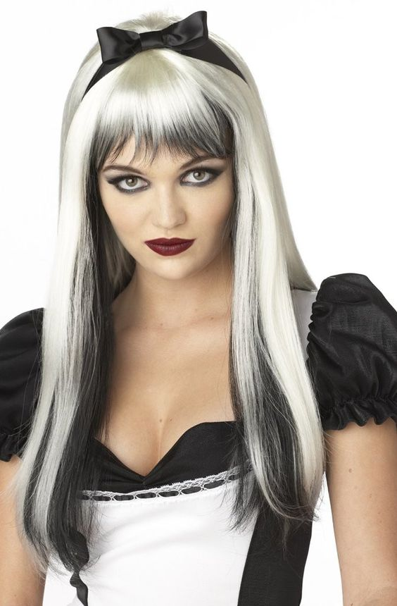 enchanted tresses (black / white) adult wig