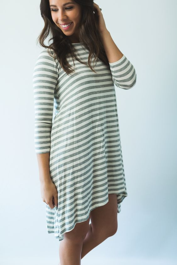 Striped T-Shirt Dress - Gray