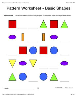 Pattern worksheets for kids - colored basic shapes, 1-2 pattern ...