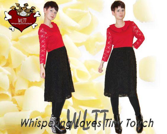 *Wir sind ganz vernarrt:     Einfach zum Anbeißen, dieses zarte Kleid mit romantischen Charme!*    Rot-Schwarzes Kleidchen in leicht ausgestellter ...