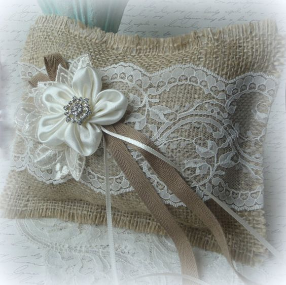 Burlap ring pillow rustic woodland country vintage barn farm wedding decor ring bearer flower girl rings. $25.00, via Etsy.: