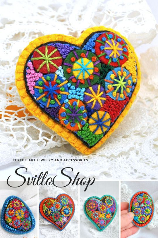 Heart gift Felt brooch Handmade jewelry Hand embroidery Gift for her for mom for girlfriend Modern embroidery art unique brooch Small gift