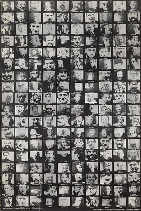 "Poster for the film ""Grimace,"" the first film by Icelandic artist Erró. Produced over several years between 1962 and 1967, it shows the faces of over a hundred artists, gallery owners and critics grimacing to his camera.The film includes the likes of Marcel Duchamp, Man Ray, Alexandre Iolas and Andy Warhol. The Andy Warhol Foundation for the Visual Arts / Artists Rights Society (ARS)."