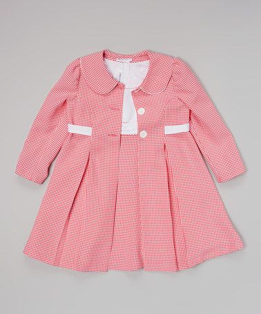 Another great find on #zulily! Pink & White Gingham Dress & Swing Coat - Infant by Gerson & Gerson #zulilyfinds