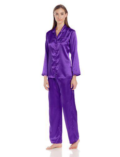 Noble Mount Womens Premium Satin Pajama Sleepwear Set, Purple ...