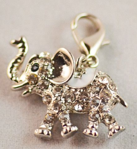 Charm, Animal, Elephant, Clear Cstals, White Saddle
