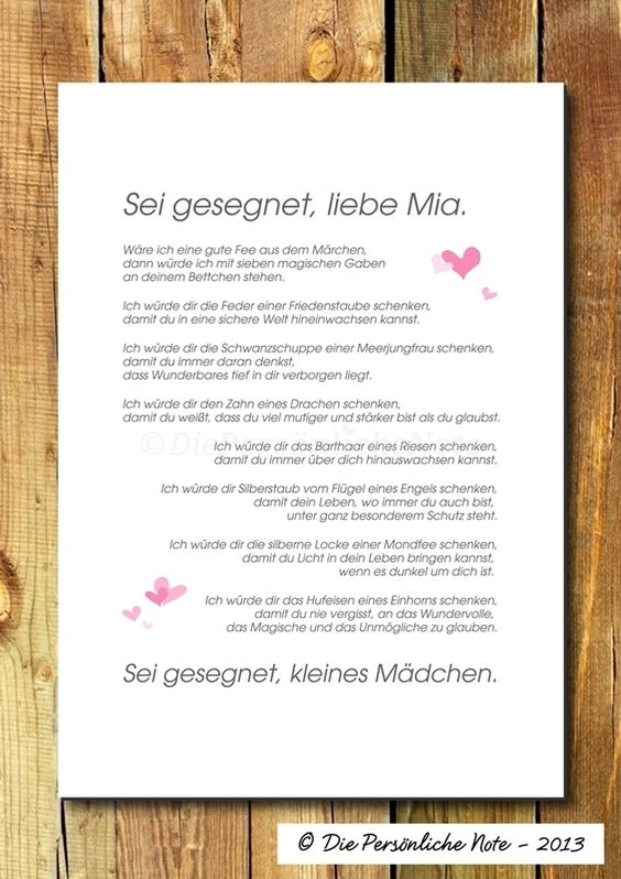 """Poetisch - Segenswunsch zur Geburt oder Taufe: """"Wäre ich eine gute Fee aus dem Märchen, dann würde ich mit sieben magischen Gaben an deinem Bettchen stehen ...""""   Druck/Wandbild/Print: Segenswunsch (Taufe/Geburt)"""