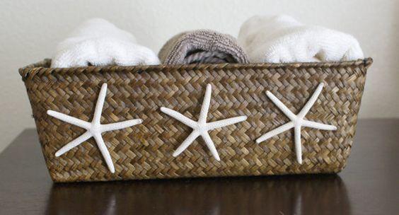 Starfish basket, brown basket, coastal decor, cottage chic, beach decor, bathroom, office, storage, bedroom via Etsy