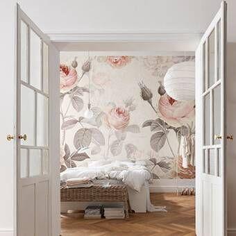 Rosdorf Park Tia Peony Floral And Botanical Matte Peel And Stick Wallpaper Tile Reviews Wayfair Wallpaper Bedroom Wallpaper Decor French Doors Interior