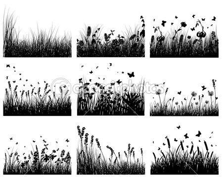 Wiese-Silhouetten — Stockilllustration #3636435