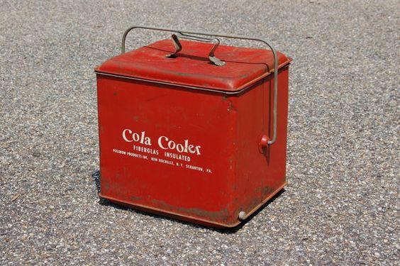 Red Cola Cooler Mid Century Soda Cooler by CobblestonesVintage, $110.00