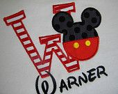 Boutique Custom MICKEY initial Applique Birthday T-shirt sz 6m-5T PERSONALIZED