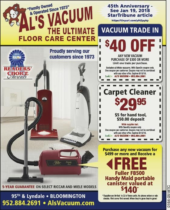Al S Vacuum May Give Away Special Purchase Any New Vacuum For 499 00 Or More And Receive A Free Fuller Fb500 Handy M 45th Anniversary Vacuums Spring Cleaning
