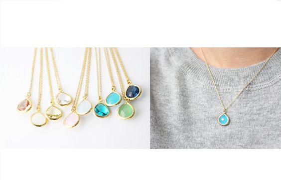 SALE : Gold Framed Crystal necklace  Teardrop by bySiukwan on Etsy