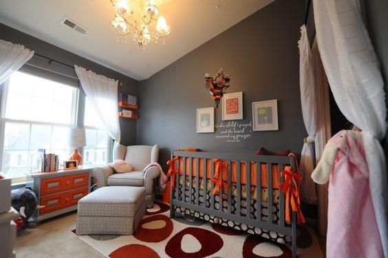 Gray nursery with orange pops of color