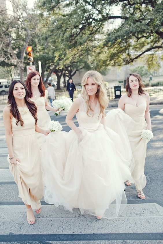 Stunning Vera Wang gown, nude floor-length Amsale bridesmaid ...