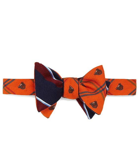 Brooks Brothers Reversible Bow Tie: Horse Plaid and Sidewheeler Stripe