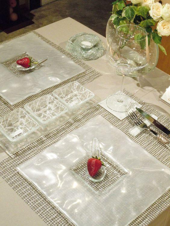 Restaurant Table Setting With White Glass Dinnerware Set