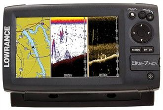 """The Lowrance Elite-7 HDI with 83/200 kHz and 455/800 transducer is a fishfinder/chartplotter combo featuring brilliant 7"""" widescreen color LED-backlit display."""