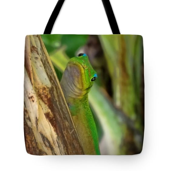 "Gecko Up Close Tote Bag by Pamela Walton (18"" x 18"").  The tote bag is machine washable, available in three different sizes, and includes a black strap for easy carrying on your shoulder.  All totes are available for worldwide shipping and include a money-back guarantee."