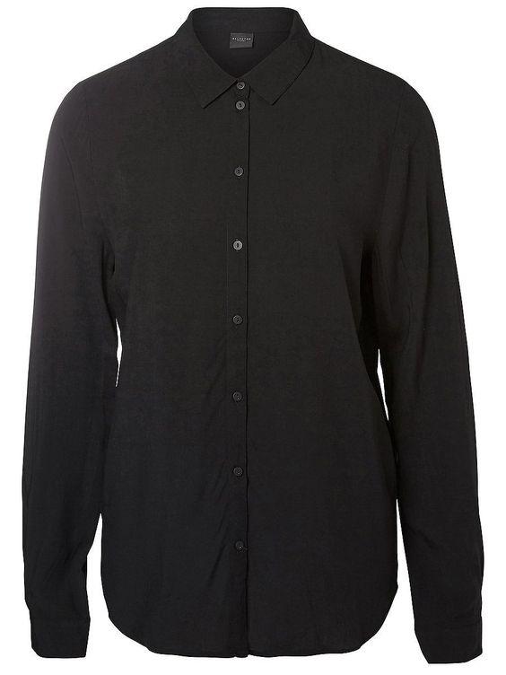 Selected Femme - Regular fit - 100 % Viskose - Geteilter Kragen - Normale Knopfblende - Weiche und leichte Qualität Dieses Hemd fügt sich mit dem femininen Viskose-Stoff und der leichten Qualität nahtlos in deine Garderobe ein. Trage dazu je nach Lust und Laune eine taillierte Hose oder auch Jeans.  100% Viskose...