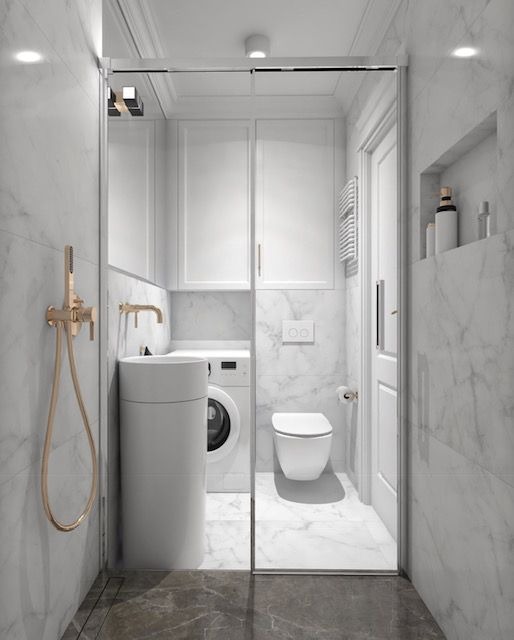 Small Bathroom Washing Machine Small Bathroom Small Spaces Bathroom Design