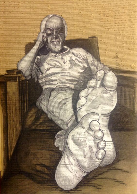 """Nelson foreshortened"" - sharpie & charcoal on newspaper and cardboard - Cindy Brunk:"