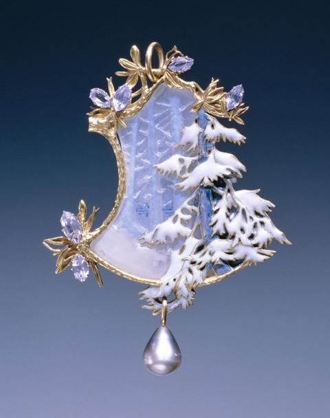 """c.1899-1900 ~ """"Winter Landscape"""" ..... 18K Gold, Opaque Enamel, Black Pearl & Glass Pendant by Lalique ...."""