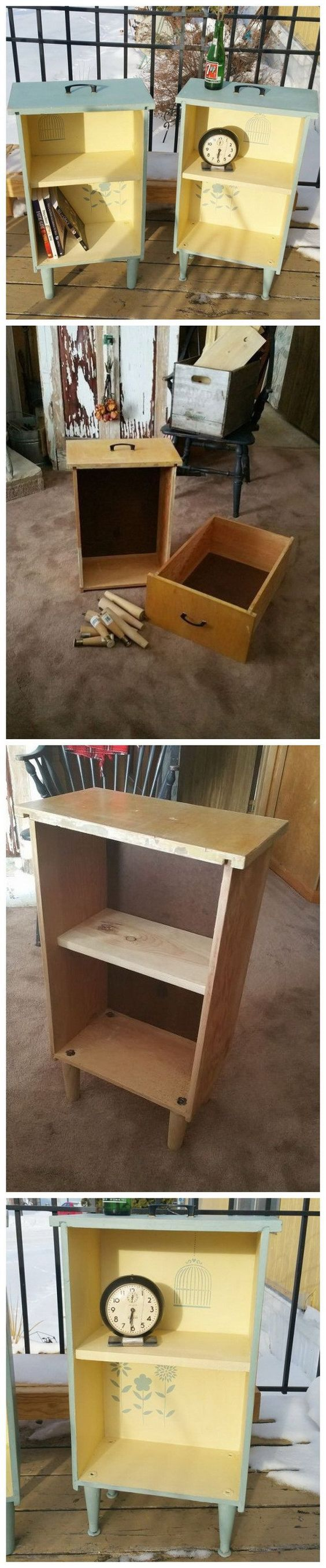Upcycled Drawers to Side Tables: Get some old drawers and turned them into bright side tables.