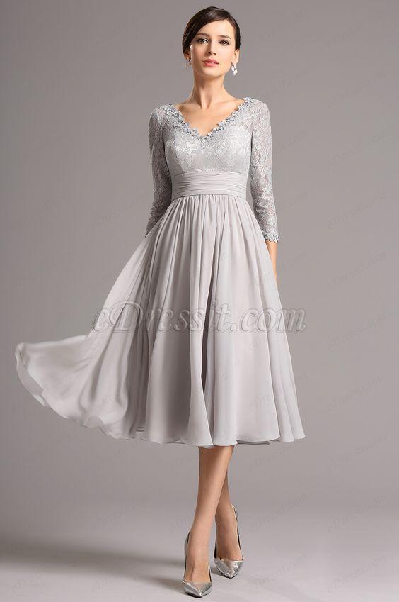 Gray tea length cocktail dress
