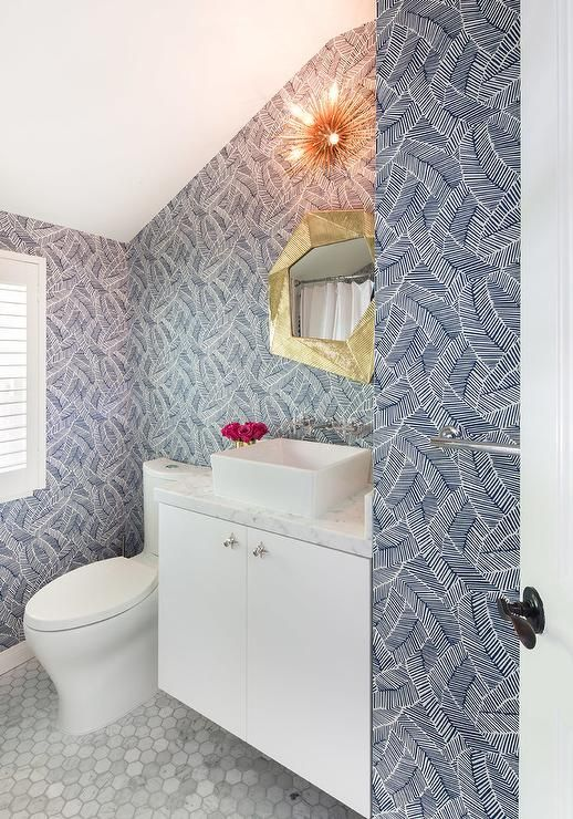 This Blue Print Schumacher Abstract Leaf Wallpaper Creates One Of A Kind Character In A Contemporary Bathro Contemporary Bathroom Leaf Wallpaper Gold Wallpaper
