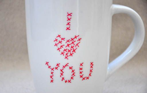 Home made with permanent marker cross-stitch letters
