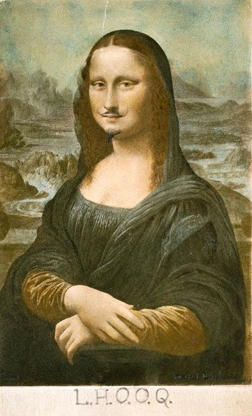 Marcel Duchamp's alteration of the Mona Lisa in 1919. Part of the Dada Movement.Smithsonian Magazine online, May 2006.