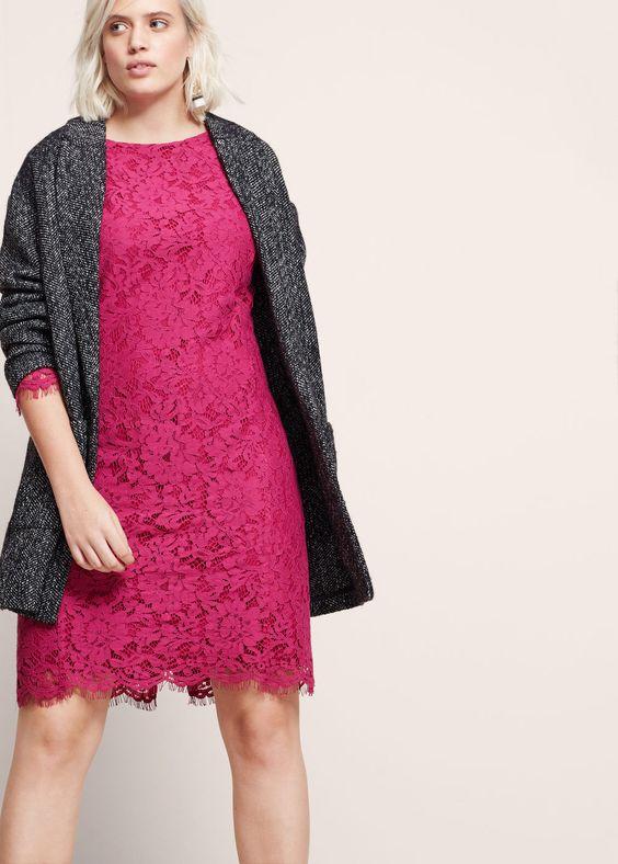 Vestido encaje  | VIOLETA BY MANGO