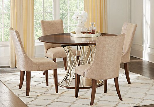 Picture Of Rosslyn Walnut 5 Pc Dining Room From Dining Room Sets Furniture Round Dining Room Dining Room Sets Contemporary Outdoor Dining Furniture