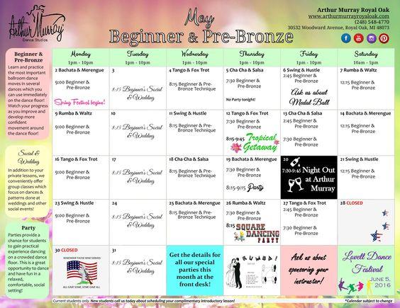 Arthur Murray Royal Oak   May Beginner Schedule