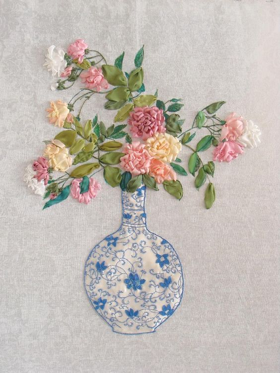 Ribbon embroidery sre silk embroidered roses