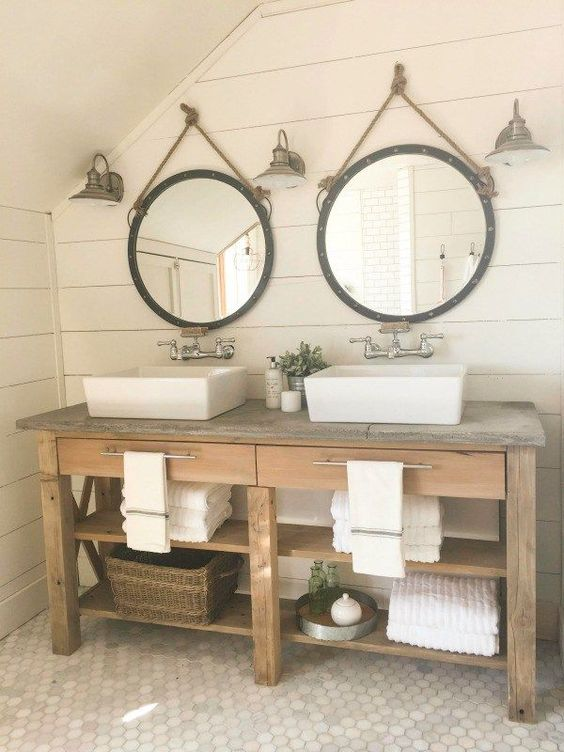 This farmhouse master bathroom makeover is incredible! Shiplap, subway tile, and raw rustic wood!!! Must see!: