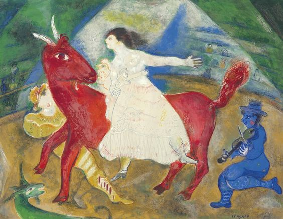 Marc Chagall (1887-1985) L'écuyère en blanc - The Rider in White (1941) gouache, colored wax crayons and pencil on paper 50.5 x 65 cm
