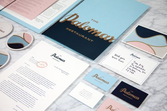 Logotype and print with gold foil detail designed by Here for Soho restaurant The Palomar