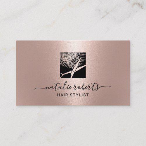 Hair Stylist Modern Scissor Logo Rose Gold Salon Business Card Zazzle Com Salon Business Cards Hairstylist Business Cards Hair Business Cards