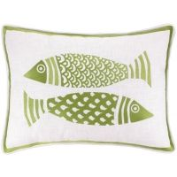 KN 2 Fish Green Embroidered Pillow