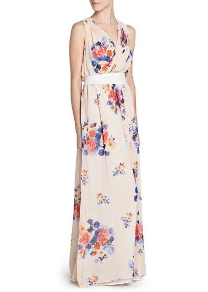 Vestido largo gasa estampado floral