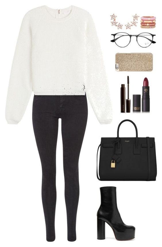 """""""Untitled #1365"""" by fairytalesofcupcake ❤ liked on Polyvore featuring Maison Scotch, See by Chloé, Vetements, Yves Saint Laurent, Laura Mercier, Lipstick Queen, Michael Kors, Ray-Ban, Aamaya by Priyanka and Adolfo Courrier"""