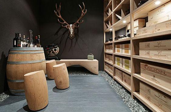 Une cave à vin qui mise tout sur la nature et le bois brut