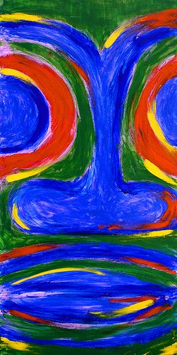 """Face the Tiki, Original Finger Painting, acrylic on canvas, 15"""" x 30"""" COLLECTED"""