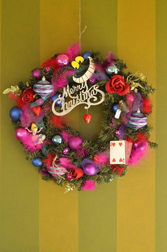 Alice in Wonderland inspired Christmas Wreath by StarlingNight, $125.00